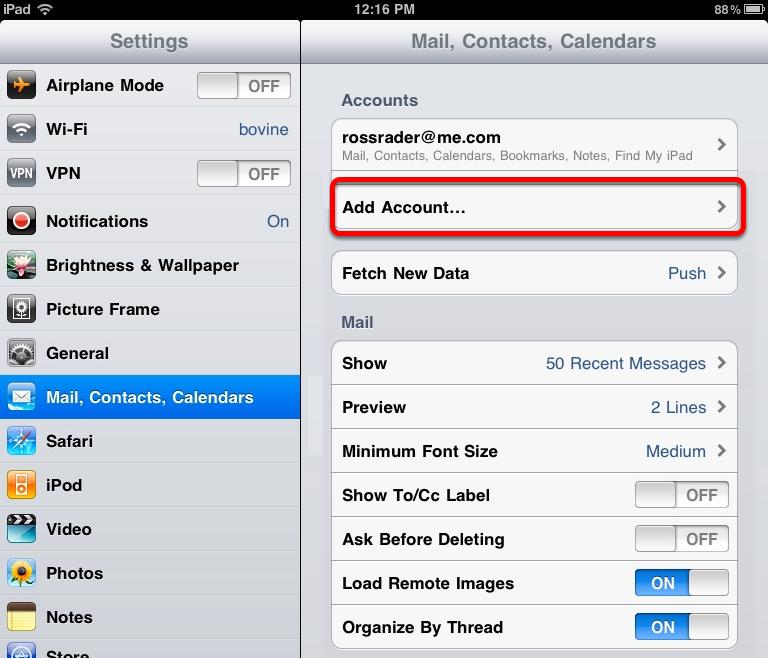 iPad Email Configuration